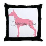 Diamonds Doberman Diva Throw Pillow