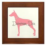 Diamonds Doberman Diva Framed Tile