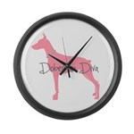 Diamonds Doberman Diva Large Wall Clock