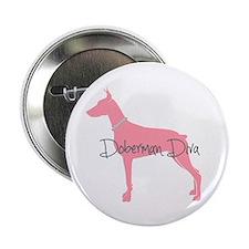 """Diamonds Doberman Diva 2.25"""" Button"""