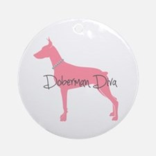 Diamonds Doberman Diva Ornament (Round)