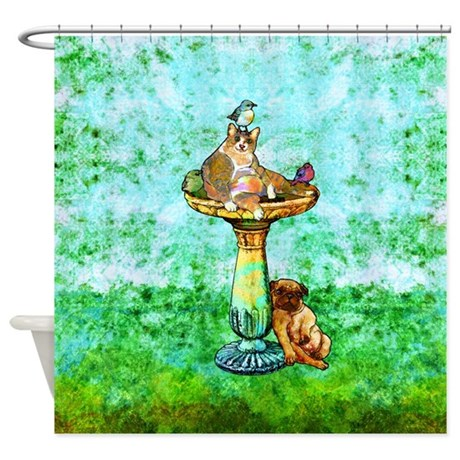 Fat Cat and Pug Shower Curtain