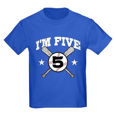 5 Year Old Baseball Kids Dark T-Shirt