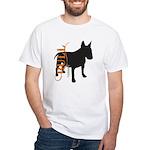 Grunge Bull Terrier Silhouette White T-Shirt