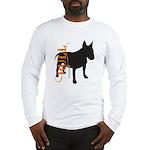 Grunge Bull Terrier Silhouette Long Sleeve T-Shirt