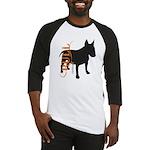 Grunge Bull Terrier Silhouette Baseball Jersey