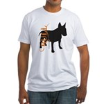 Grunge Bull Terrier Silhouette Fitted T-Shirt