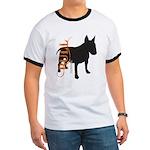 Grunge Bull Terrier Silhouette Ringer T