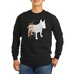 Grunge Bull Terrier Silhouette Long Sleeve Dark T-