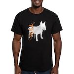 Grunge Bull Terrier Silhouette Men's Fitted T-Shir