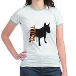 Grunge Bull Terrier Silhouette Jr. Ringer T-Shirt