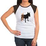 Grunge Bull Terrier Silhouette Women's Cap Sleeve