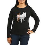 Grunge Bull Terrier Silhouette Women's Long Sleeve
