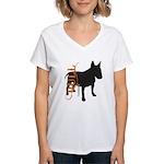 Grunge Bull Terrier Silhouette Women's V-Neck T-Sh