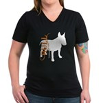 Grunge Bull Terrier Silhouette Women's V-Neck Dark