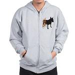 Grunge Bull Terrier Silhouette Zip Hoodie