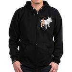 Grunge Bull Terrier Silhouette Zip Hoodie (dark)
