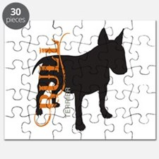 Grunge Bull Terrier Silhouette Puzzle