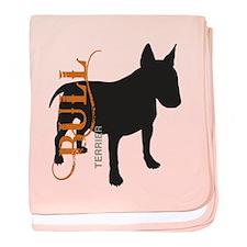 Grunge Bull Terrier Silhouette baby blanket