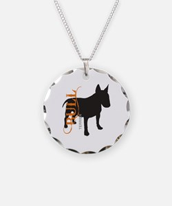 Grunge Bull Terrier Silhouette Necklace Circle Cha