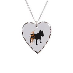 Grunge Bull Terrier Silhouette Necklace