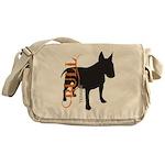 Grunge Bull Terrier Silhouette Messenger Bag