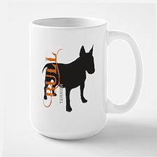 Grunge Bull Terrier Silhouette Large Mug