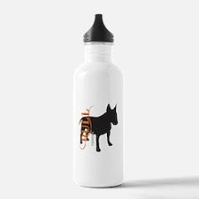 Grunge Bull Terrier Silhouette Water Bottle