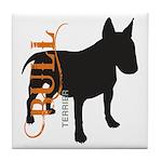 Grunge Bull Terrier Silhouette Tile Coaster