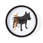 Grunge Bull Terrier Silhouette Wall Clock