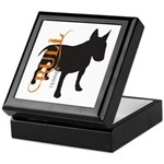 Grunge Bull Terrier Silhouette Keepsake Box