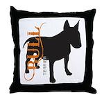 Grunge Bull Terrier Silhouette Throw Pillow