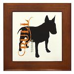 Grunge Bull Terrier Silhouette Framed Tile