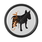 Grunge Bull Terrier Silhouette Large Wall Clock