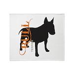 Grunge Bull Terrier Silhouette Throw Blanket