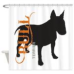Grunge Bull Terrier Silhouette Shower Curtain