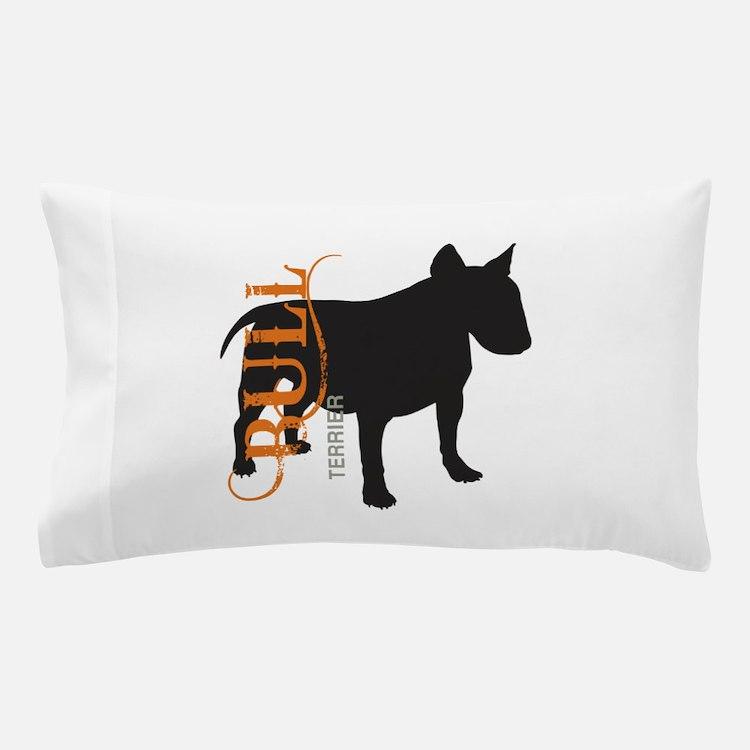Grunge Bull Terrier Silhouette Pillow Case