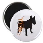 Grunge Bull Terrier Silhouette Magnet