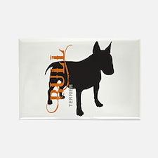 Grunge Bull Terrier Silhouette Rectangle Magnet (1