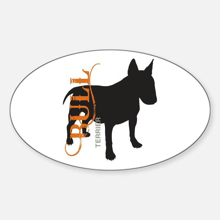 Grunge Bull Terrier Silhouette Sticker (Oval)