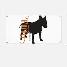 Grunge Bull Terrier Silhouette Banner