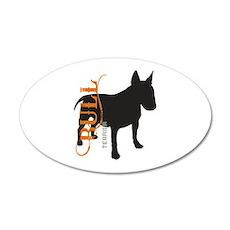 Grunge Bull Terrier Silhouette 22x14 Oval Wall Pee