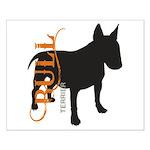 Grunge Bull Terrier Silhouette Small Poster