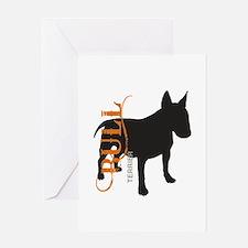 Grunge Bull Terrier Silhouette Greeting Card