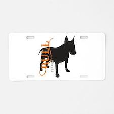 Grunge Bull Terrier Silhouette Aluminum License Pl