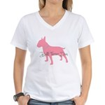 Diamonds Bull Terrier Diva Women's V-Neck T-Shirt
