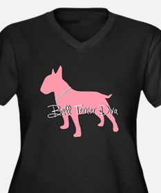 Diamonds Bull Terrier Diva Women's Plus Size V-Nec