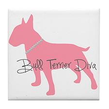 Diamonds Bull Terrier Diva Tile Coaster