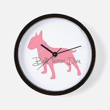 Diamonds Bull Terrier Diva Wall Clock