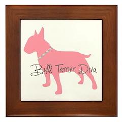 Diamonds Bull Terrier Diva Framed Tile